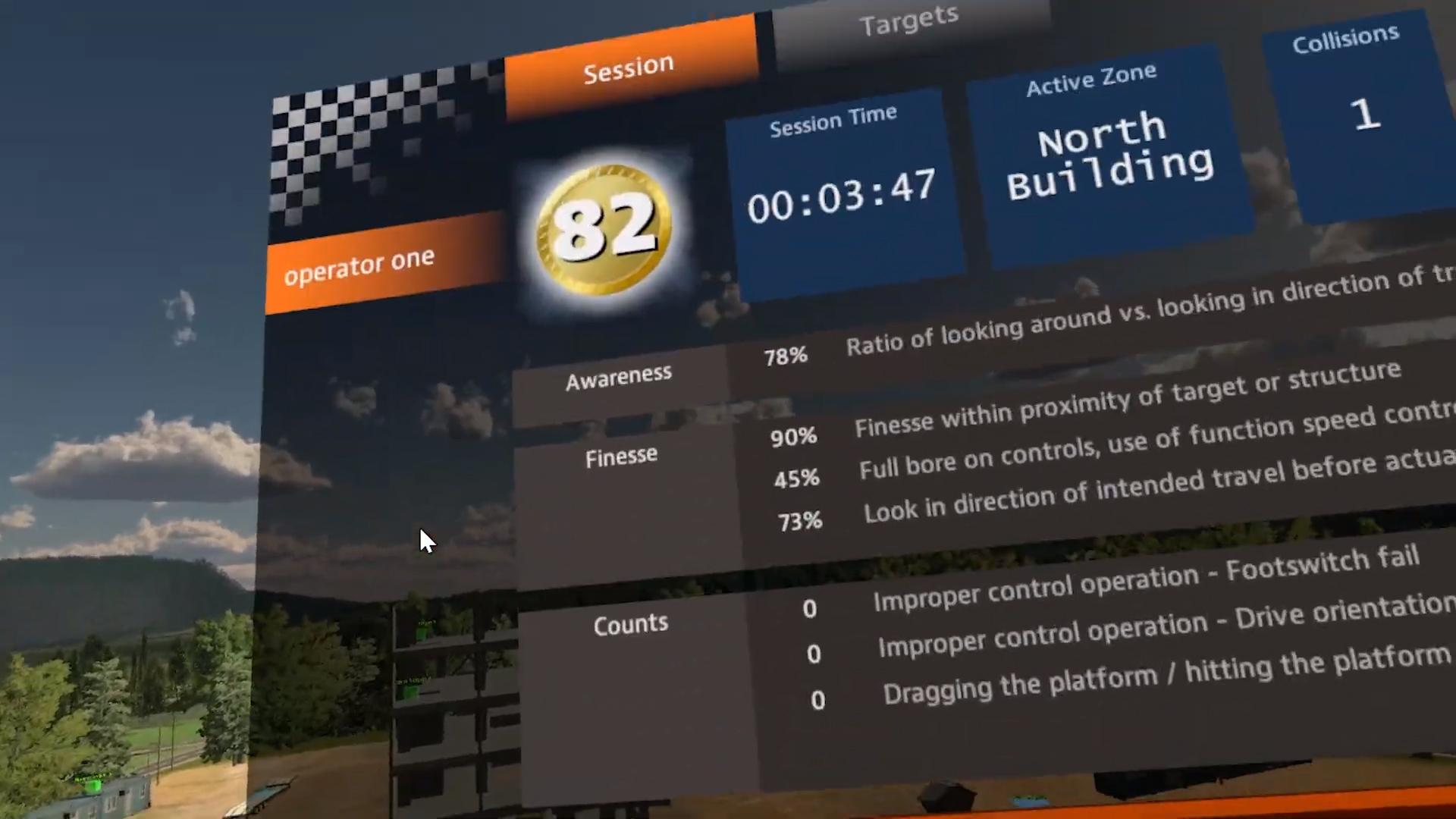 JLG AccessReady Fusion XR VR Training Simulator Session Results