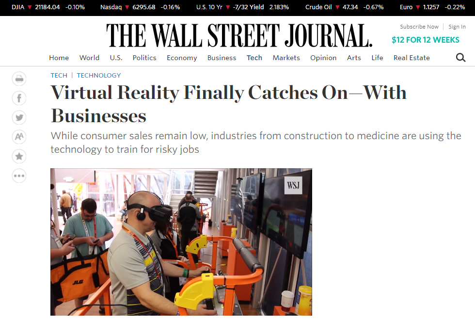JLG AccessReady Fusion XR by ForgeFX Simulations in Wall Street Journal