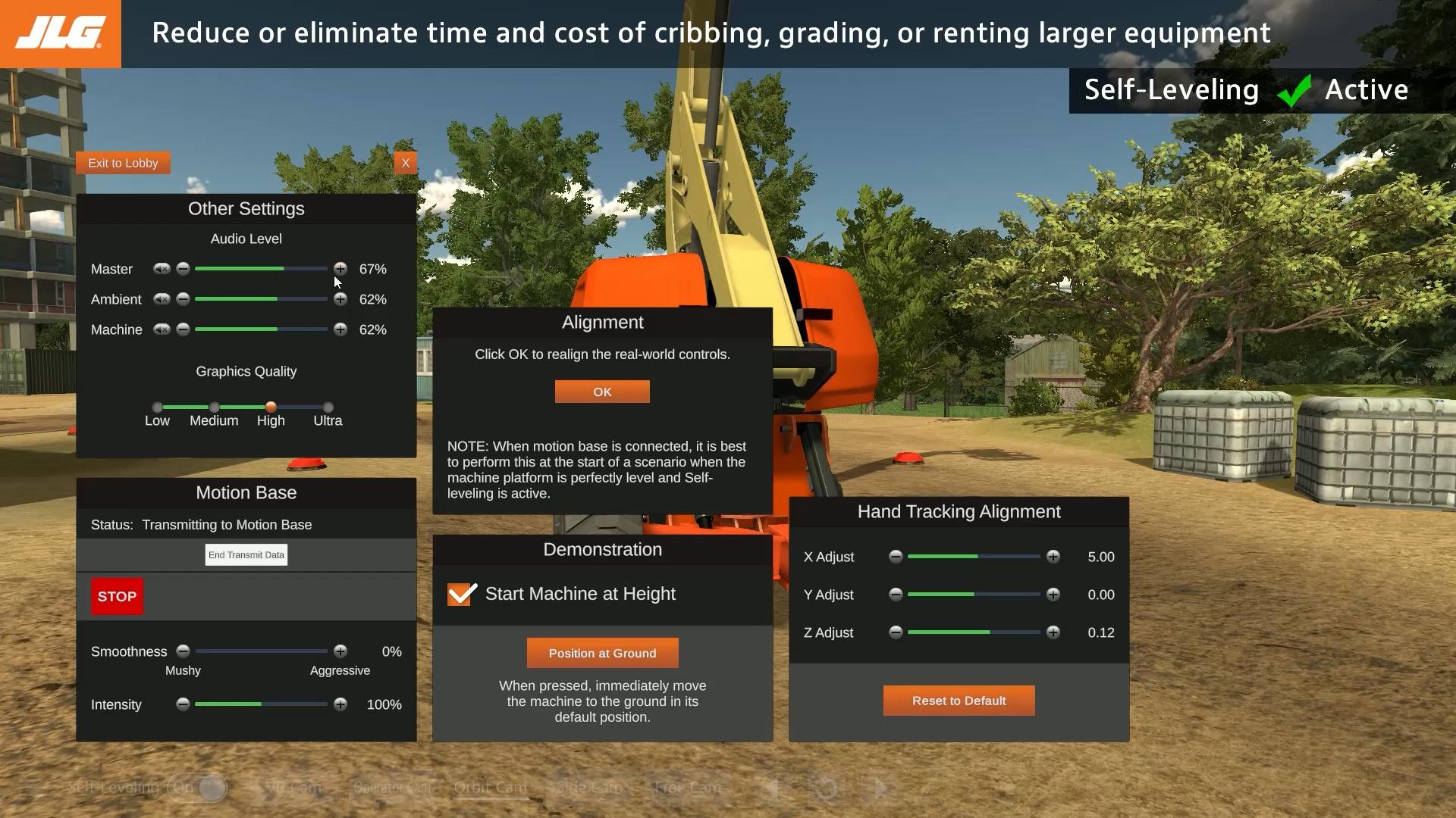 JLG Training Simulator Settings Screen