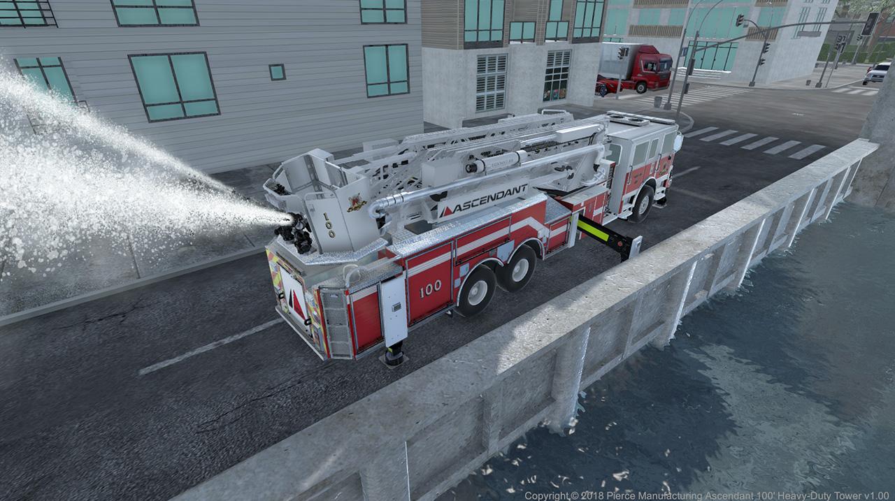 Pierce Ascendant Heavy Duty 100' Aerial Tower Monitor Control Simulation