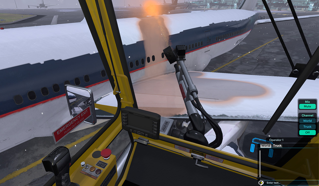 Aircraft Deicing Operator Virtual Reality Training Simulator