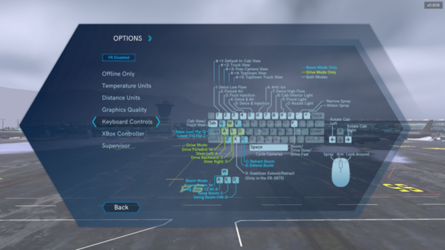 Simulation Control Options, Global Ground Support Aircraft De-Icing Simulator by ForgeFX Simulations