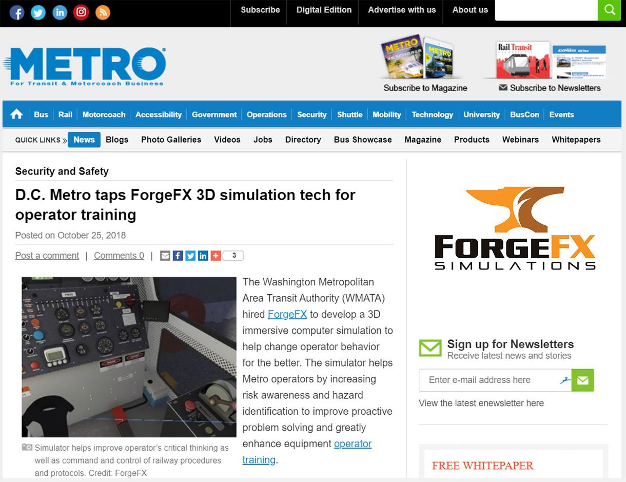 DC Metro Taps ForgeFX Simulations