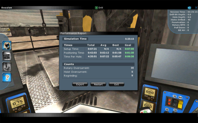Komatsu Drill Operator Training Simulator Operator Performance Report
