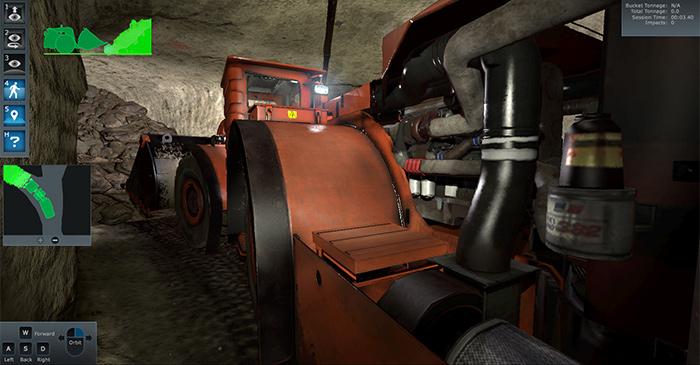 Komatsu underground mining loader operator training simulator.