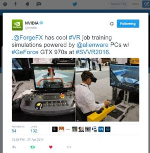 ForgeFX has cool VR job training simulations powered by Alienware PCs with GeForce GTX 970s at SVVR2016.