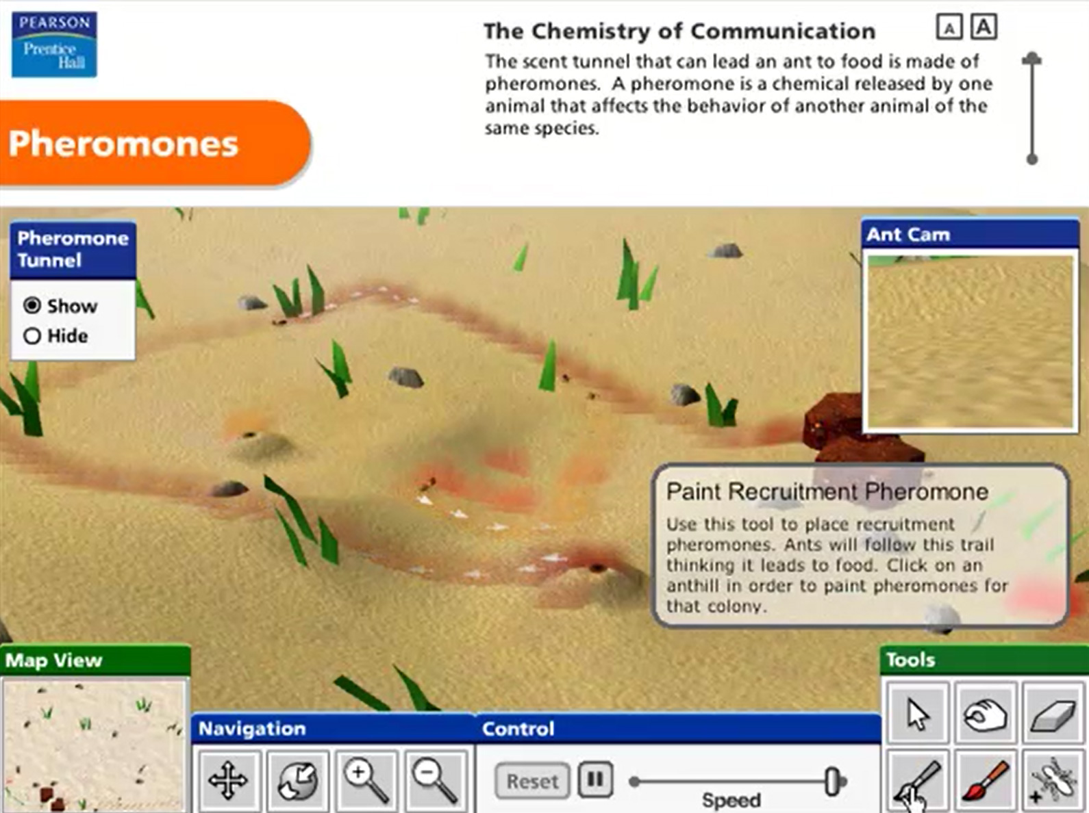 Pearson Education Virtual Science Experiments by ForgeFX Simulations, Pheromones Simulator