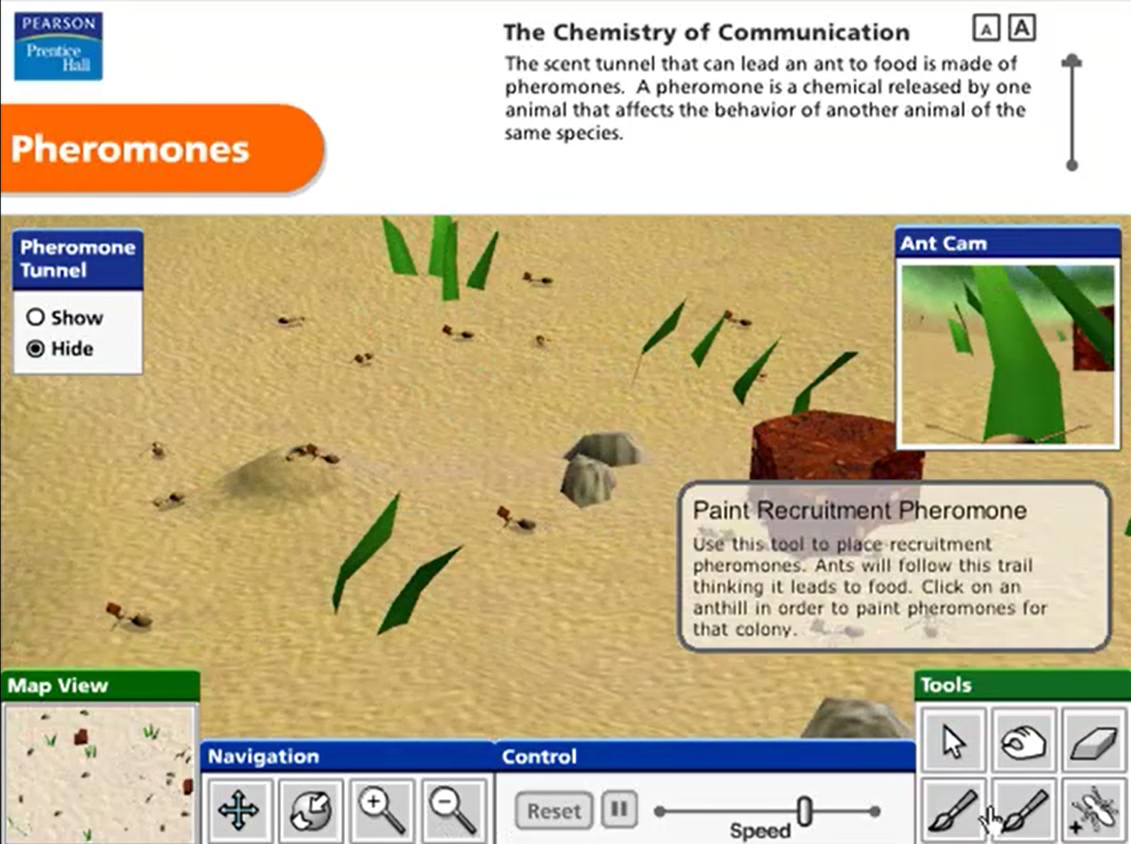 Pearson Education Virtual Science Experiments by ForgeFX Simulations, Pheromones Simulation-Based Training