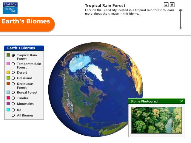 Pearson Education Virtual Science Experiments by ForgeFX Simulations, Biomes of Earth Simulator