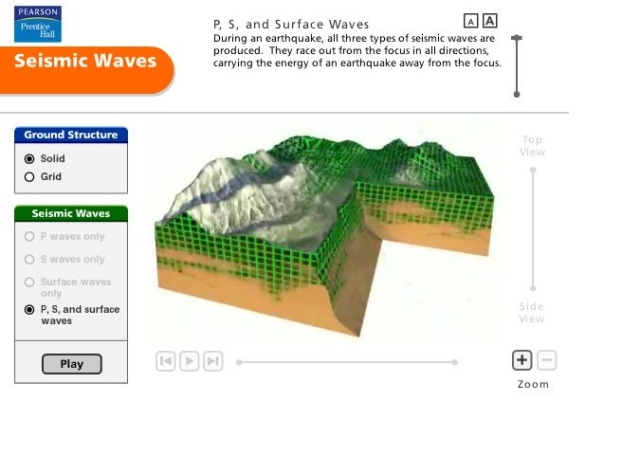 Pearson Education Virtual Science Experiments by ForgeFX Simulations, Seismic Waves Simulator