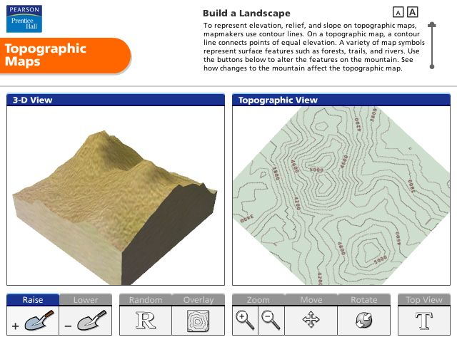 Pearson Education Virtual Science Experiments by ForgeFX Simulations, Topographic Maps Simulator