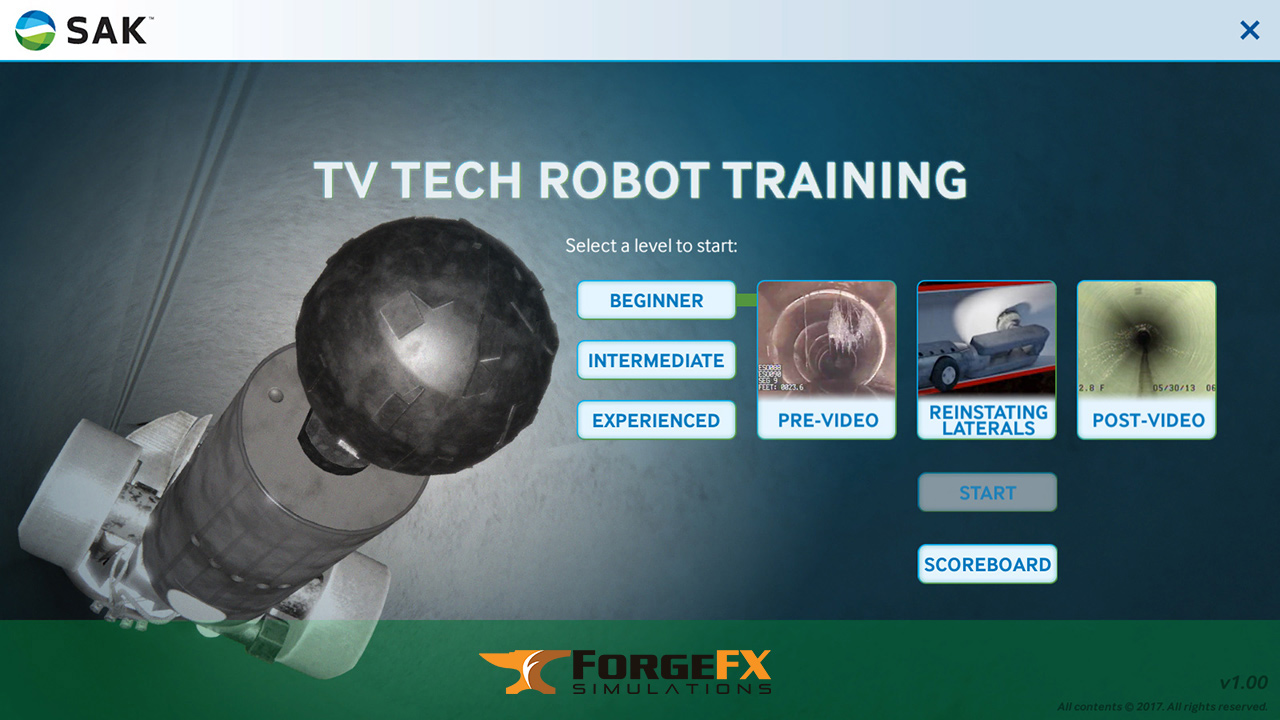 SAK Construction, TV Tech Robot Training Simulator Software by ForgeFX Simulations