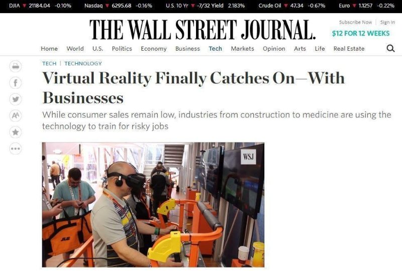 Virtual Reality Finally Catches On—With Businesses, Wall Street Journal ForgeFX and JLG Simulator